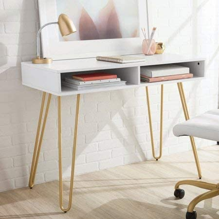 Mainstay Hairpin Writing Desk with 2 Spacious Open Storage Cubbies, White