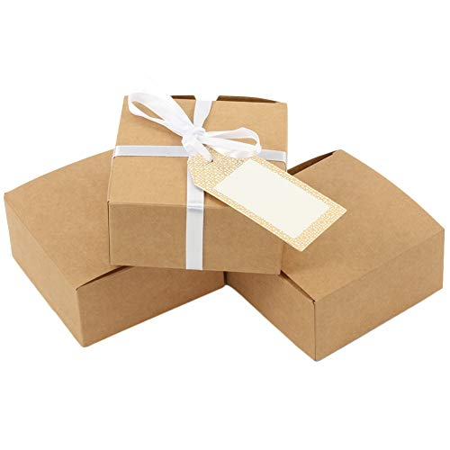 (Andaz Press Favor Box Kraft, 4 x 2-Inch Eco Chic Favor Box Container, 25-Pack, Party Favor Box Rustic for Wedding Favors, Quinceanera, Anniversary, Luau, Grad)