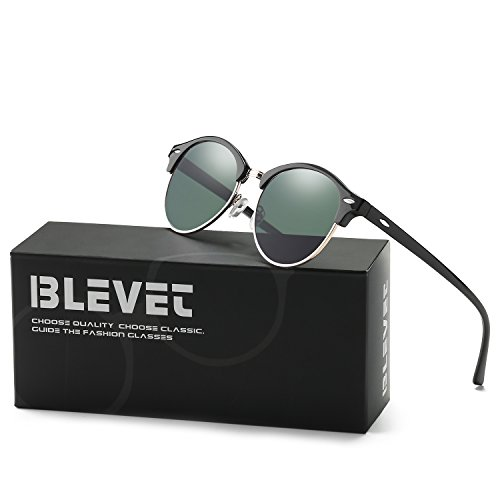 BLEVET Polarized Sunglasses Women Brand Designer Retro Rivet Semi Rimless Men - Clubmaster Oculos