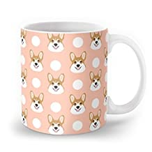 Society6 Corgi Polka Dots Peach Blush Pastel Pink Coral Welsh Corgi Iphone Case For Dog Lover Gifts For Dogs Mug 11 oz