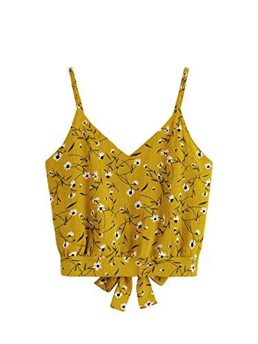 SheIn Women's Tie Back Stripe V Neck Cami Tank Crop Top Camisole Medium Ginger