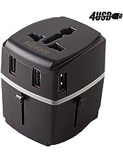 Adaptador de viaje, Milool Cargador 3 Puertos USB Y Tipo-C, Adaptador Enchufe Universal Adaptador Transferencia de Datos de Hasta 10 Gbit/s para EU, USA, AU, CN, AUS y más de 150 países -(Azul)