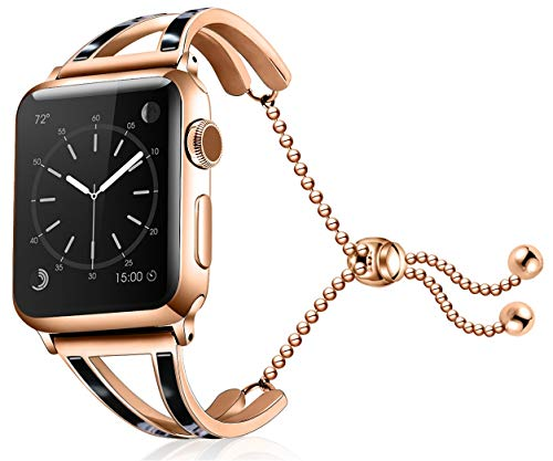 OXWALLEN Bracelet Compatible for 40mm 38mm Apple Watch Band Women Girls, 2019 New Fashion Jewelry Bangle Cuff with Adjustable Stainless Steel for iWatch Bands Series 4(40mm) Series 3 2 1(38mm)