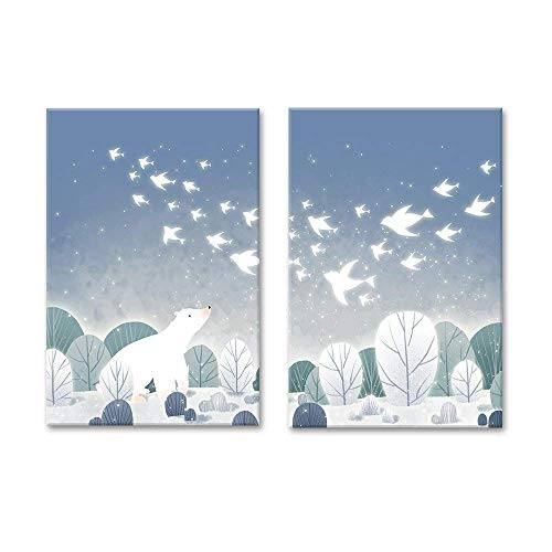 (wall26-2 Panel Canvas Wall Art - Cartoon Animals - Polar Bear on The Ice with Birds - Giclee Print Gallery Wrap Modern Home Decor Ready to Hang - 16
