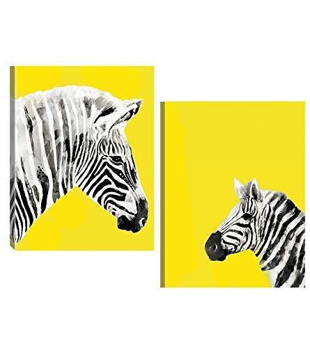 Genius Décor Contemporary Art Black White and Yellow Zebra Canvas Wall Art Print Modern Decor (Yellow)