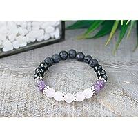 Rose Quartz, Amethyst & Black Tourmaline Diffuser Bracelet, Women's Gemstone Aromatherapy Bracelet