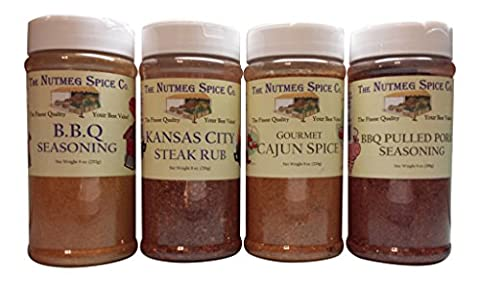Seasonings and Rubs, Variety Bundle of 4, 7-10oz each: Cajun, BBQ, Kansas City Steak Rub, Pulled - Nutmeg Spice