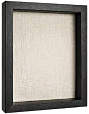 """8x10 Shadow Box Frame - Display Case for Pins, Pictures, Medals, Awards, and Photos, Wood, Black, 8x10"""""""