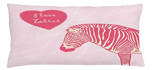 Ambesonne Pink Zebra Throw Pillow Cushion Cover, I Love Zebras in Heart Romantic Wilderness Nature Savannah Fashion, Decorative Square Accent Pillow Case, 36 X 16 Inches, Pink Ivory Pale Pink