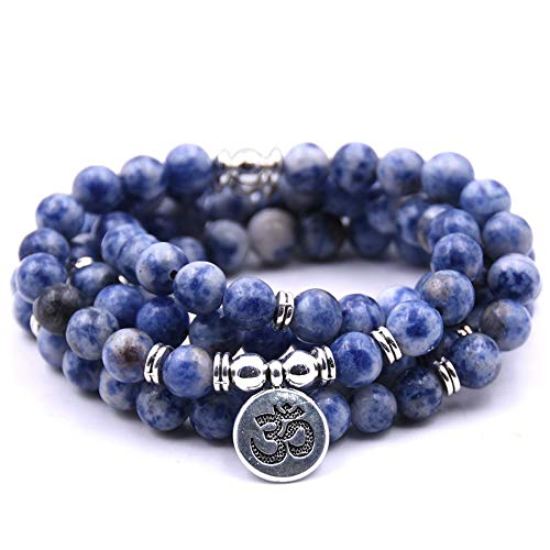 Self-Discovery 108 Natural Beads Mala Yoga Jewelry Meditation Beads Bracelet Necklace with OHM Charm (Blue Lace - Meaning Agate Blue Lace
