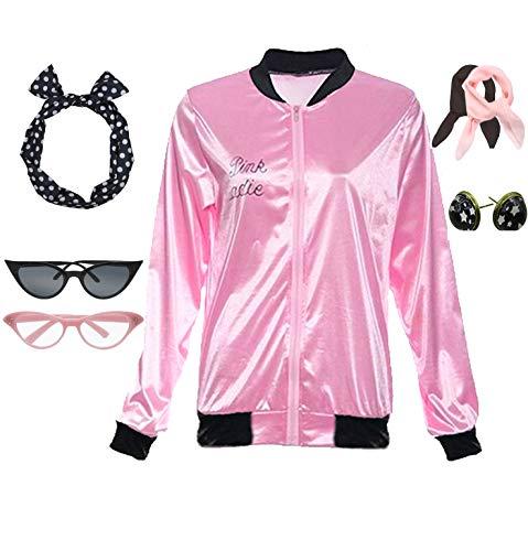 - Retro 1950s Pink Ladies Polka Dot Style Headband Costume Accessories Set
