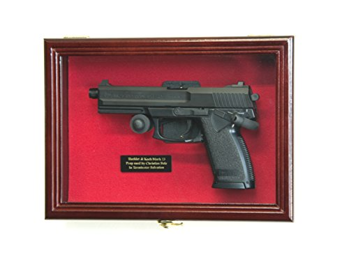 Single Pistol Display Case Wall Mount Solid Hardwood Cabinet (Cherry Finish, Red Felt Background)