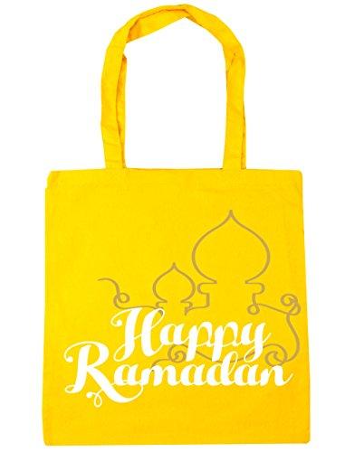 HippoWarehouse happy ramadán Tote Compras Bolsa de playa 42cm x38cm, 10litros amarillo