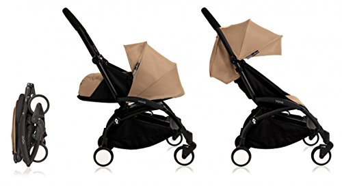 Babyzen Yoyo+ Stroller Complete – Black Frame with Taupe Canopy and Newborn Set