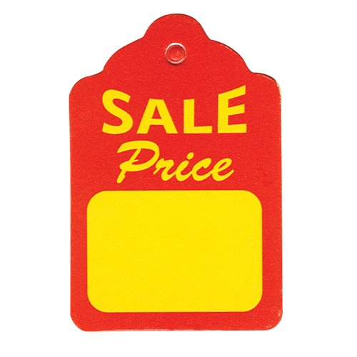 Large Red Tag Sign - 1000 Large Red & Yellow Unstrung Boutique Sale Price Merchandise Tags - 1.75