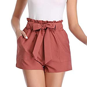 Aprance Paper Bag Shorts for Women High Waisted Tie Casual Summer Shorts with Pockets 21