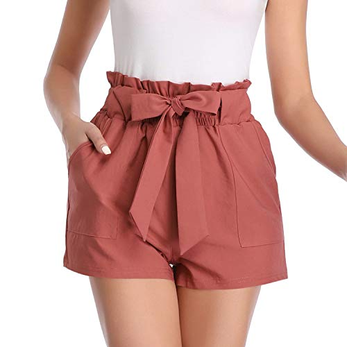 Aprance Paper Bag Shorts for Women High Waisted Tie Casual Summer Shorts with Pockets DK_BRN_L