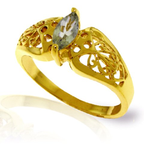 Galaxy Gold 14k Yellow Gold Filigree Ring with natural Marquise-Shaped Green Amethyst - Size 9.5