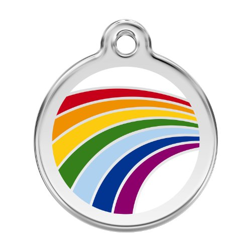 Custom Engraved Stainless Steel and Enamel Dog ID Tag - Rainbow (Small)