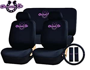 11 piece auto interior gift set cowgirl cow girl up a set of 2 seat covers 1. Black Bedroom Furniture Sets. Home Design Ideas