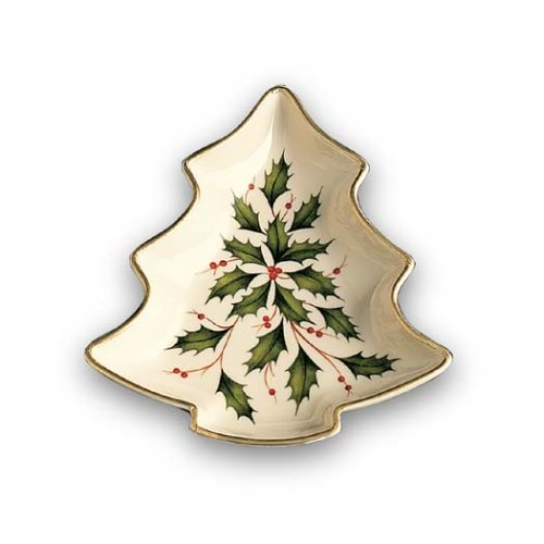 Lenox Holiday Gold-Banded Tree-Shaped Candy Dish