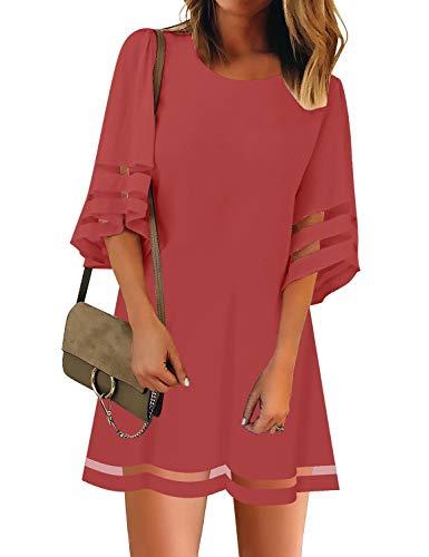 Sleeve Panel Dress - Vetinee Women's Tea Rose 3/4 Bell Sleeve Crewneck Mesh Panel A Line Casual Loose Tunic Dress XX-Large (US 20-22)