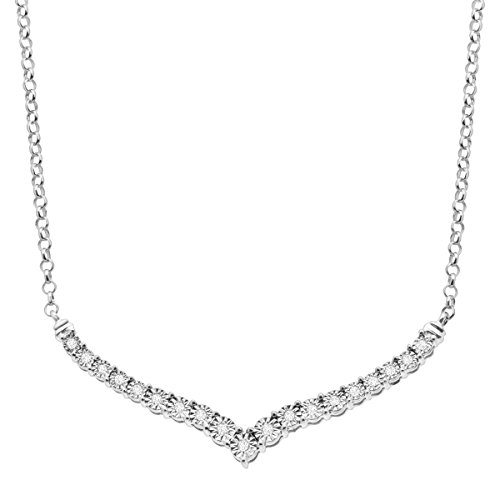 1/4 ct Diamond Chevron Necklace in Sterling Silver by Finecraft