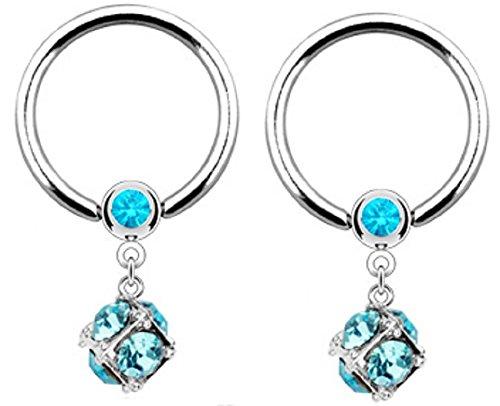 Dangle Captive Ring - Nipple Ring CZ Dangle Captive Bead Body Jewelry Pair 14 gauge 1/2