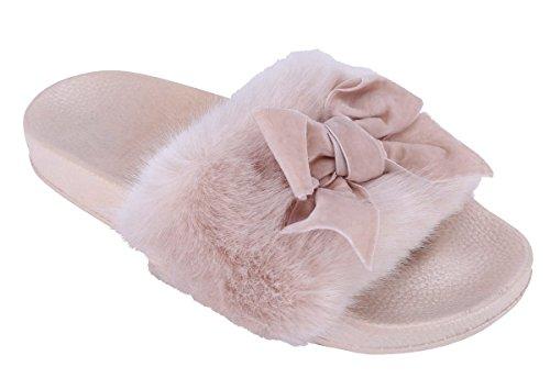 Cambridge Select Donna Open Toe Fiocco In Pelliccia Sintetica Slip-on Slip-on Flat Sandal Nude