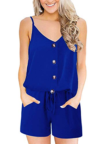 QEESMEI Women's Summer Sleeveless Rompers with Pockets Spaghetti Strap Tank top Jumpsuit Rompers Playsuit (Romper Sleeveless Top Le)