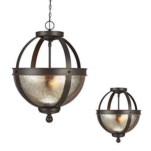 Sfera Two Light Semi-Flush Convertible Pendant in Autumn Bronze with Mercury Glass