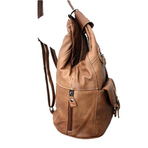 Light Brown Genuine Backpack Purse Sling Leather black Organizer YOTwF