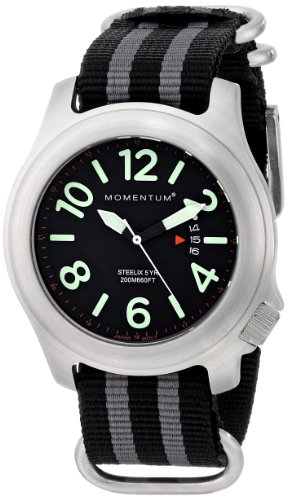 Men's Sports Watch |Steelix Nylon Adventure Watch by Momentum | Stainless Steel Watches for Men | Analog Watch with Japanese Movement | Water Resistant(200M/660FT)Classic Watch - Black / 1M-SP74B7S