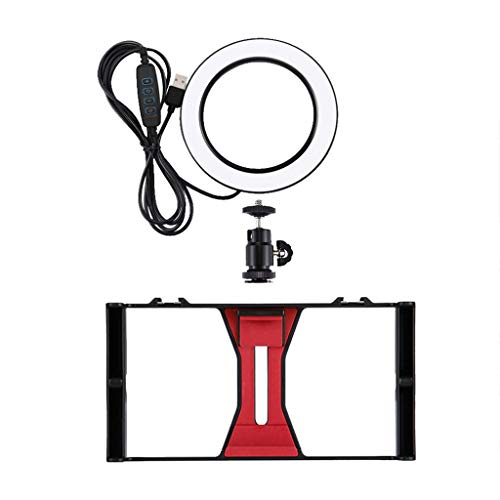 Sodoop Handheld Camera Stand, Mobile Video Recording Live Rabbit Cage Ring Fill Light Cold Boot Adapter Bracket Set+4.6 inch Ring Flash LED ()