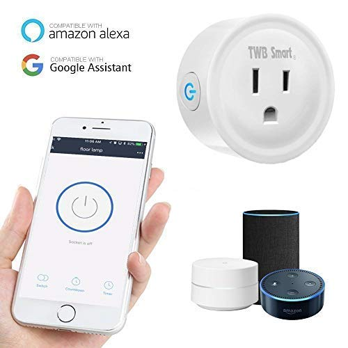 Wi-Fi Mini Smart Plug, Compatible with Alexa & Google Home Assistant. Smart Home Electrical Outlet Timer Compatible with Amazon Echo Dot Accessories. Perfect for Home Automation & Smart Home (2-Pack)