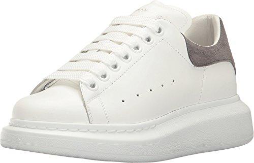 Alexander McQueen Women's Lace-Up Sneaker White/Silver Grey 39 M EU