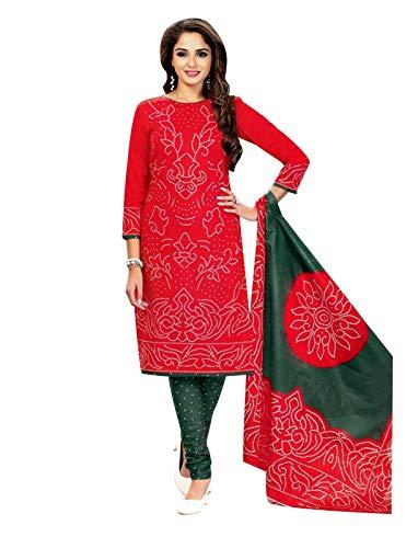 Salwar Red Kameez - Ladyline Readymade Bandhej Printed Pure Cotton Salwar Kameez Dress Indian (Size_42/ Red)