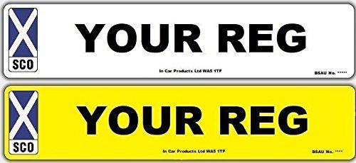 Inex Pair of Scotland Scottish Standard Front and Rear MOT Compliant Road Legal Car Van Reg Registration Replacement Number Plates Generic