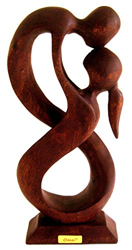 OMA Love Statue Hug Embrace Modern Art Abstract Wooden Statue - 9