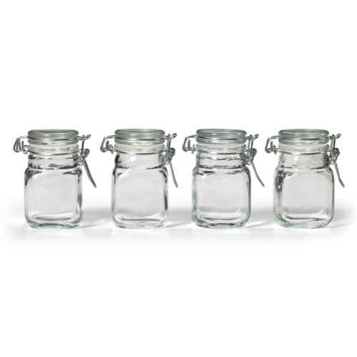 Kamenstein Square Glass Jar with Hinge Glass Lid, 4 Piece -