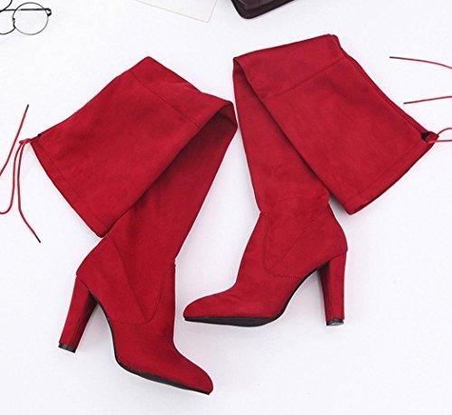 Stiefeletten Damen Schuhe Xinan Stretch Faux Schlank Hohe Stiefel über die Knie Stiefel High Heels Schuhe Rot