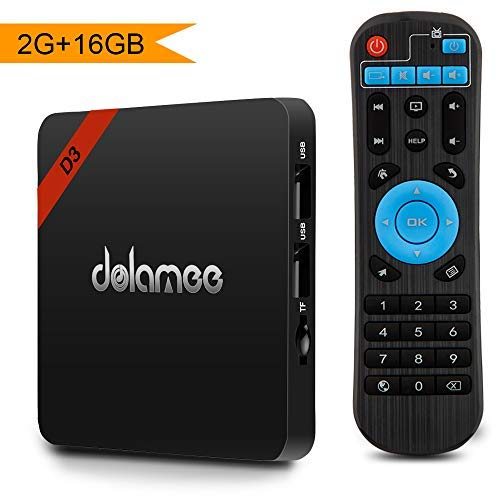 Android 8.1 TV Box, Dolamee 2GB RAM 16GB ROM Streaming Media Player Smart TV Box Amlogic S905 Quad Core Bulit in BT 4.0 Support 2.4G WiFi 4K 3D for Home Entertainment
