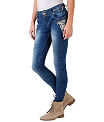 4416-BLU-14: Flower Embroidered Skinny Jeans