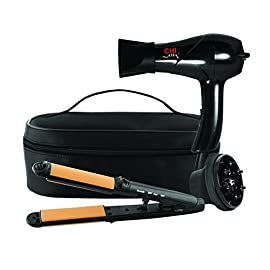 CHI Air Classic Travel 2 Piece Collection 3-in-1 Hairstyling Iron and Dryer with Zip Bag, Black - 41KFSfh11vL - CHI Air Classic Travel 2 Piece Collection 3-in-1 Hairstyling Iron and Dryer with Zip Bag, Black