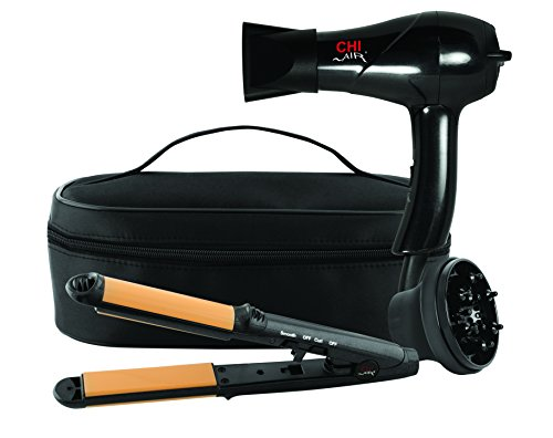 CHI Air Classic Travel 2 Piece Collection 3-in-1 Hairstyling Iron and Dryer with Zip Bag, Black, 1 lb.
