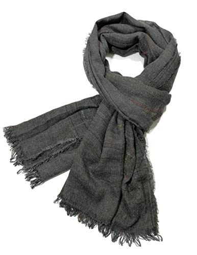 Shanlin Unisex Cotton-Linen Scarves for Men and Women (Gray-Color Threads),78