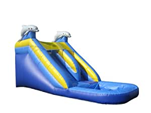 JumpOrange Commercial Grade 16' Dolphin Mega Wet/Dry Inflatable Water Slide, Yellow/Blue/Grey Dolphins