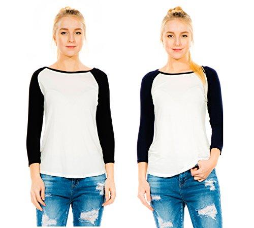 Baseball Shirt Raglan Sleeve (Megan apparel Look Women's 2 Pack 3/4 Sleeve Super Stretch Comfy Baseball Raglan T-Shirts)