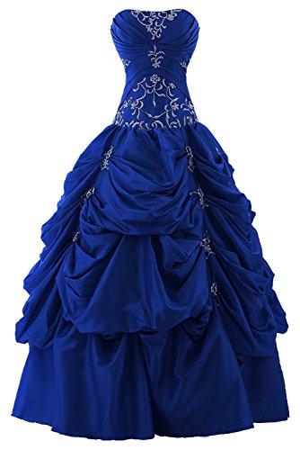 Snowskite Women's Strapless Taffeta Applique Pick-up Quinceanera Dress Royal Blue - Train Strapless Royal Length
