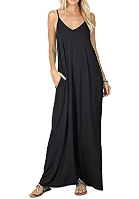 Women's Casual Plain V-Neck Loose Beach Cover-up Long Maxi Cami Dress Pockets